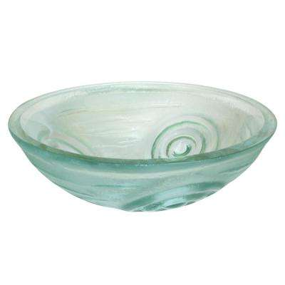 Swirls Glass Vessel Sink in Clear with Pop-Up Drain and Mounting Ring in Chrome
