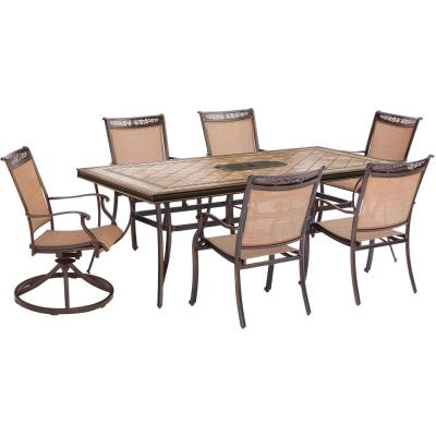 Fontana 7-Piece Aluminum Rectangular Outdoor Dining Set with Tile-Top Table and 2 Swivel Chairs