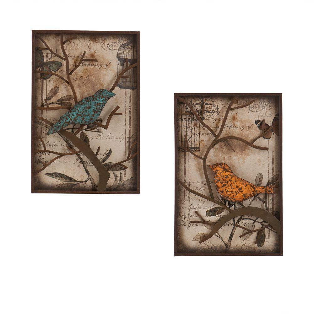 Southern Enterprises 16 In X 24 Bird Decorative Wall Panel Set 2