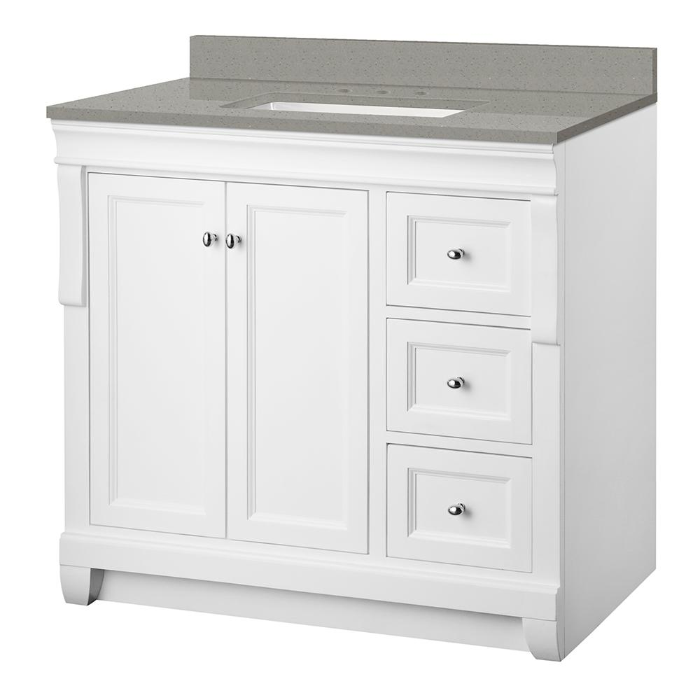 Foremost Naples 37 in. W x 22 in. D Vanity Cabinet in White with Engineered Quartz Vanity Top in Sterling Grey with White Basin was $843.99 now $590.79 (30.0% off)