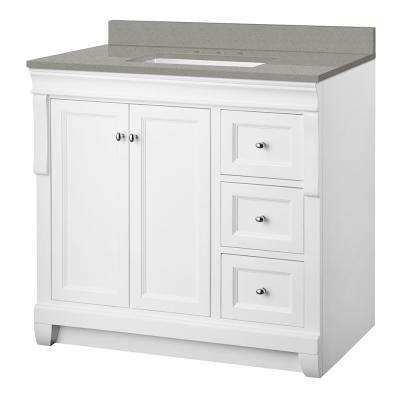 Naples 37 in. W x 22 in. D Vanity Cabinet in White with Engineered Quartz Vanity Top in Sterling Grey with White Basin