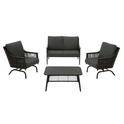 Bayhurst 4-Piece Black Wicker Outdoor Patio Conversation Seating Set with CushionGuard Graphite Dark Gray Cushions