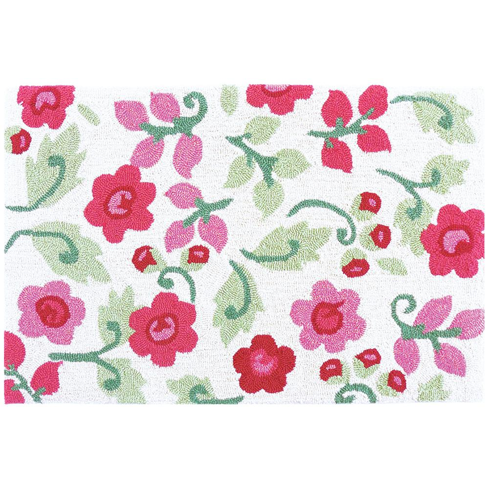Bright pink flower blossoms with green leaves rug