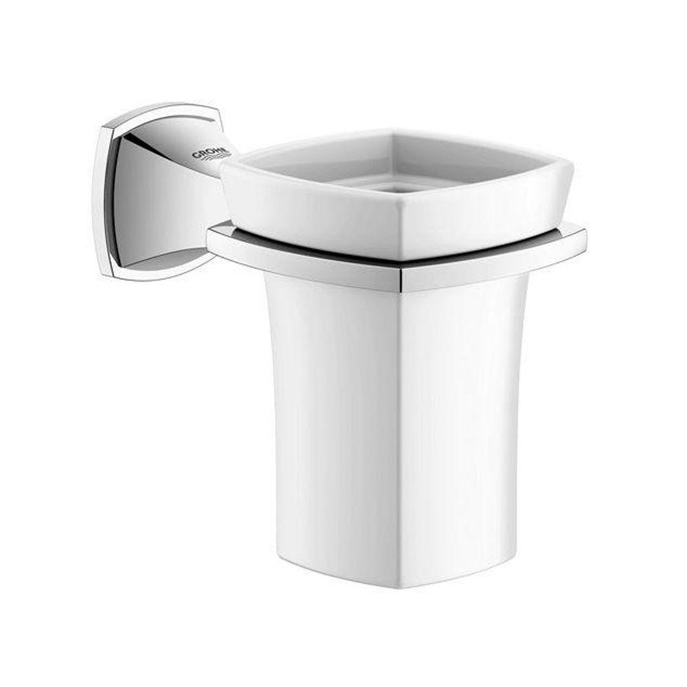 GROHE Grandera Ceramic Tumbler with Holder in StarLight Chrome