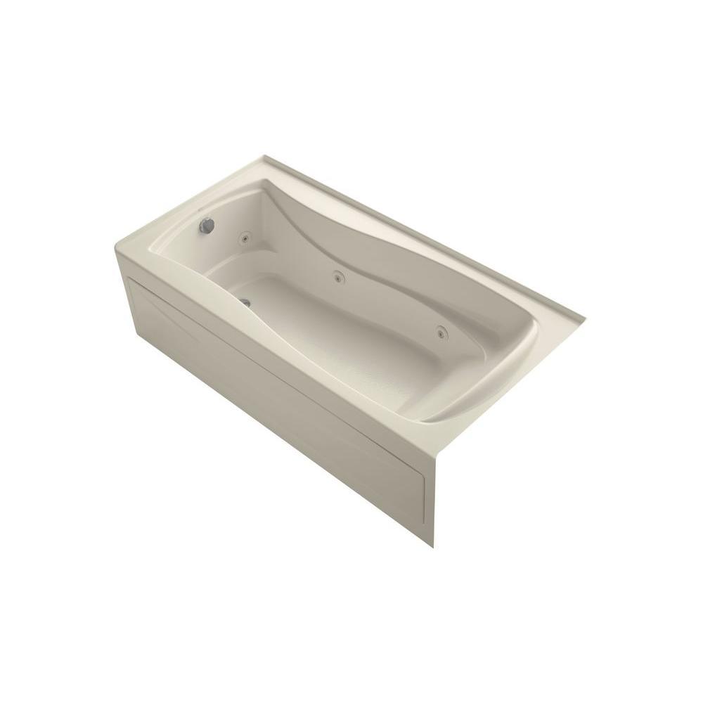 Mariposa 6 ft. Acrylic Left Drain Hourglass Rectangular Alcove Whirlpool Bathtub in Almond