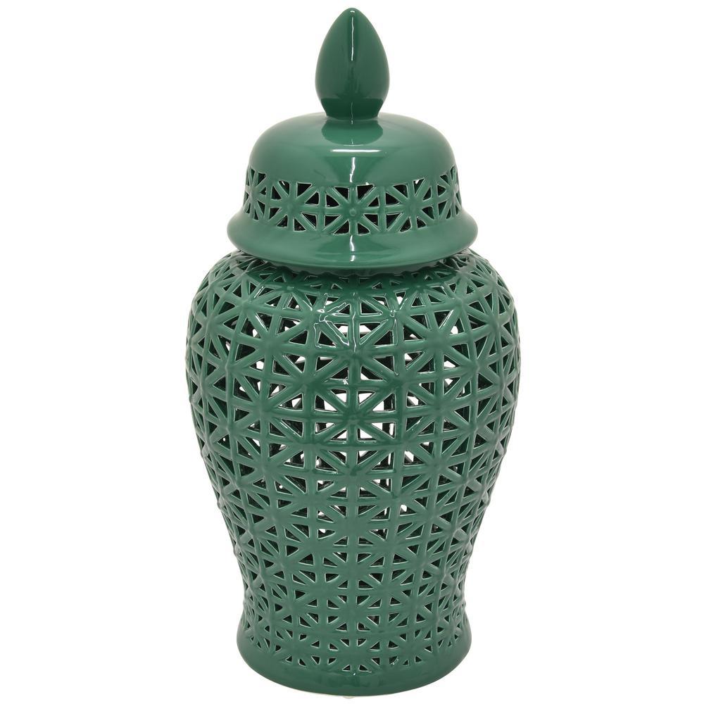 25 in. Green Ceramic Table Vase