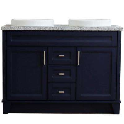 49 in. W x 22 in. D Double Bath Vanity in Blue with Granite Vanity Top in Gray with White Round Basins
