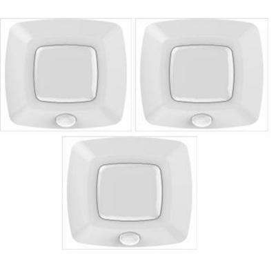 3 in. Motion Activated LED White Puck Light (3-Pack)