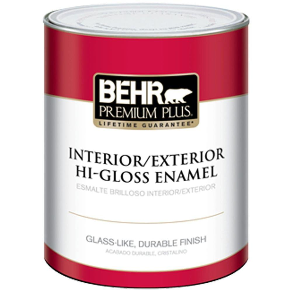 BEHR Premium Plus 1-Qt. Ultra Pure White Hi-Gloss Enamel Interior ...