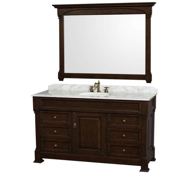 Andover 60 in. Single Vanity in Dark Cherry with Marble Vanity Top in Carrara White with Porcelain Sink and Mirror