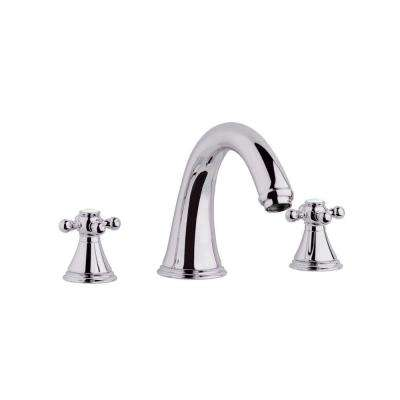 Geneva 2-Handle Non-Deckplate Mount Roman Bathtub Faucet in Polished Nickel