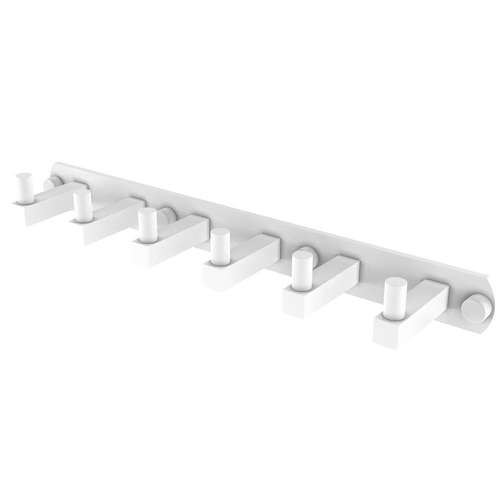 Allied Brass Montero Collection 6-Position Tie and Belt Rack in Matte White