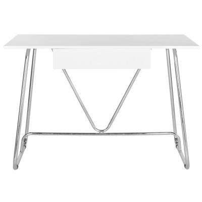 Malloy White and Chrome Desk
