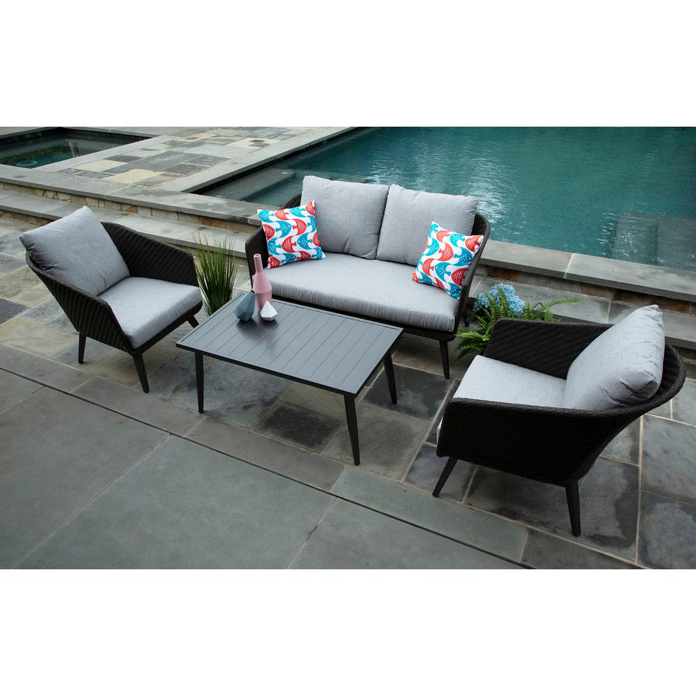 Willow 4 Piece Resin Wicker Patio Deep Seating Set With Sunbrella Frequency Ash Cushions
