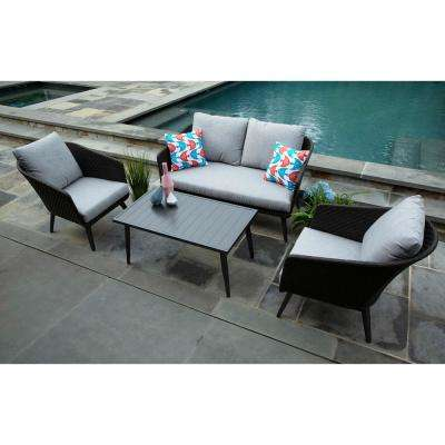 Willow 4-Piece Resin Wicker Patio Deep Seating Set with Sunbrella Frequency Ash Cushions