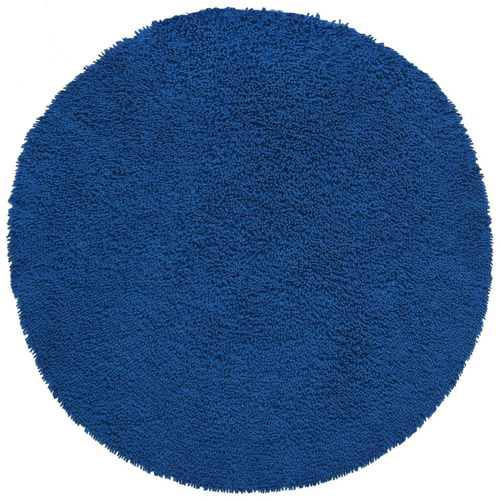 Midnight Blue Shag Chenille Twist 2 ft. x 2 ft. Round Accent Rug