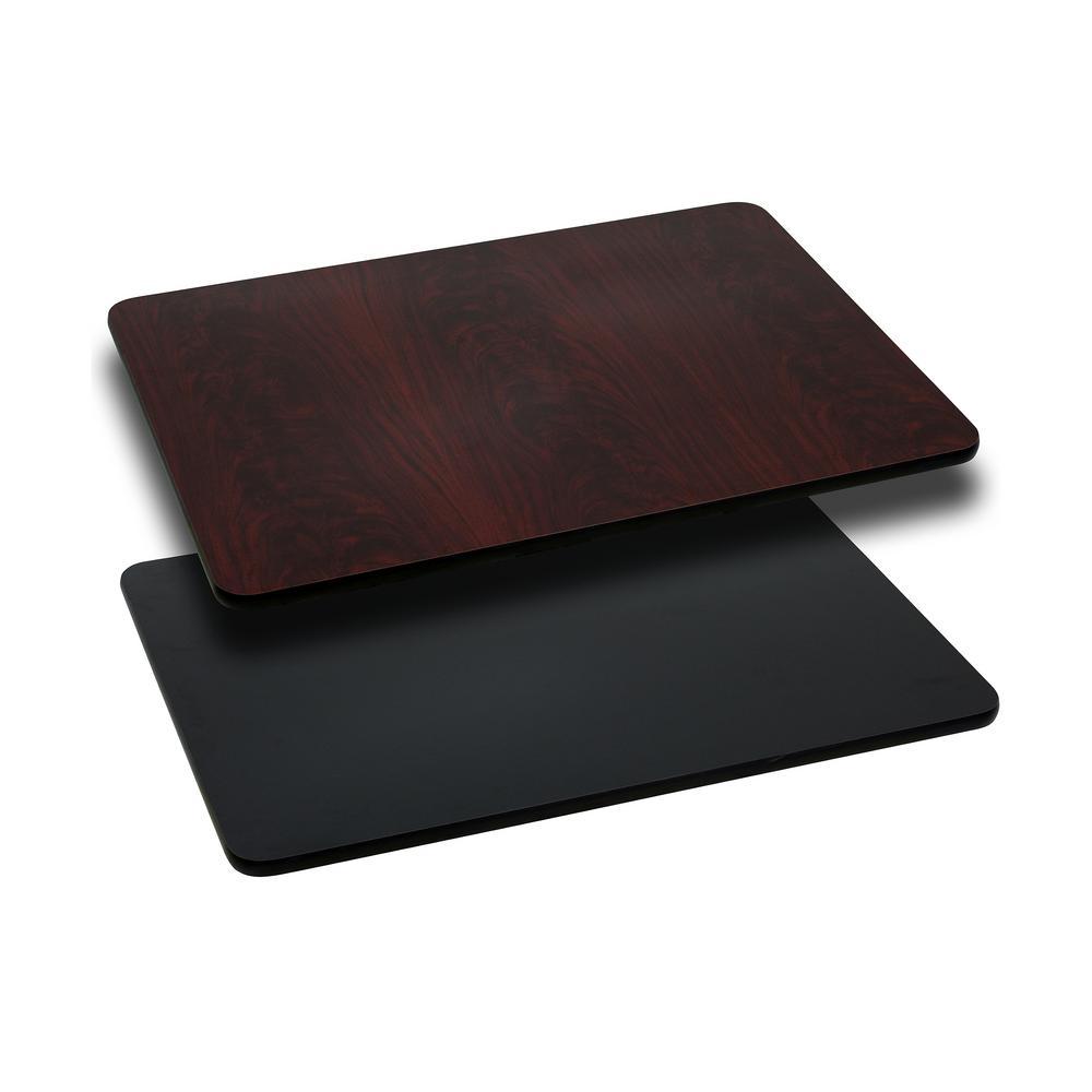 Rectangular Table Top With Black Or Mahogany Reversible Laminate