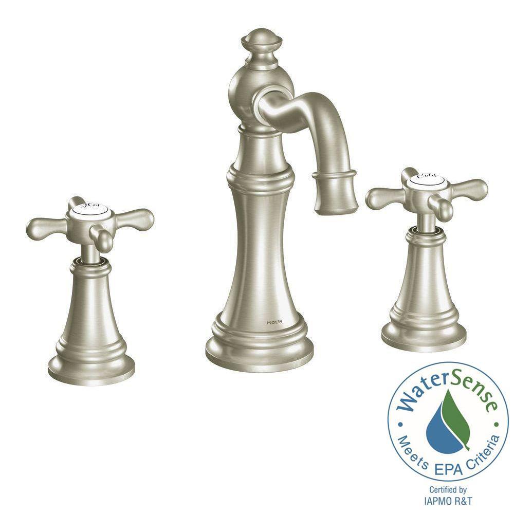 MOEN Weymouth 8 in. Widespread 2-Handle High-Arc Bathroom Faucet ...