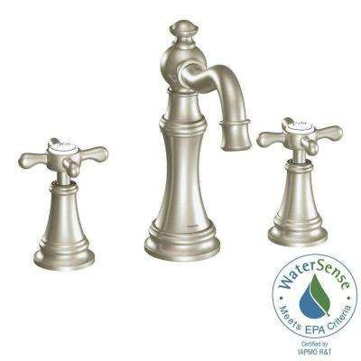 Weymouth 8 in. Widespread 2-Handle High-Arc Bathroom Faucet Trim Kit in Brushed Nickel (Valve Not Included)