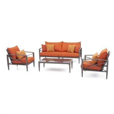 Knoxville Taupe 4 Piece Aluminum Patio Seating Set With Tikka Orange  Cushions