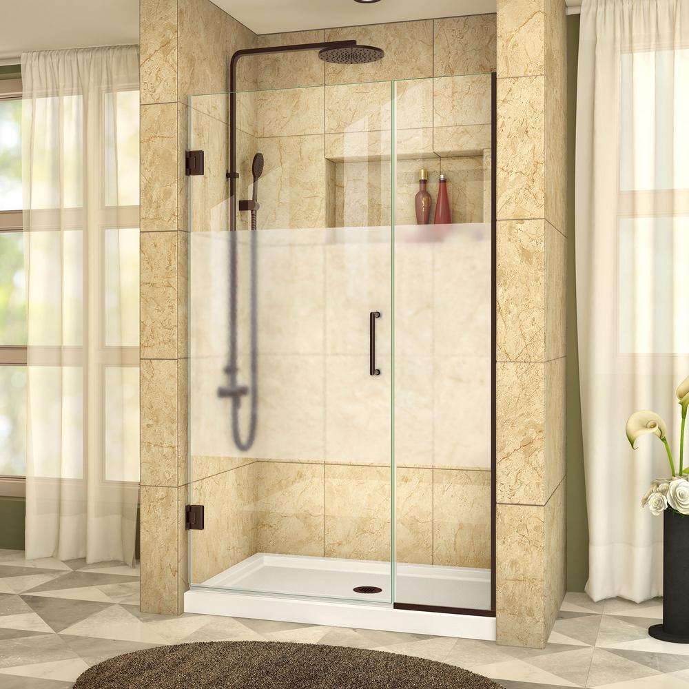 Unidoor Plus 39-1/2 to 40 in. x 72 in. Frameless Hinged Shower Door in Oil Rubbed Bronze