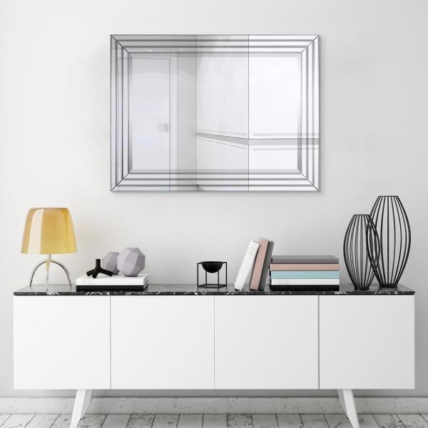 Medium Rectangle Clear Beveled Glass Modern Mirror (30 in. H x 40 in. W)