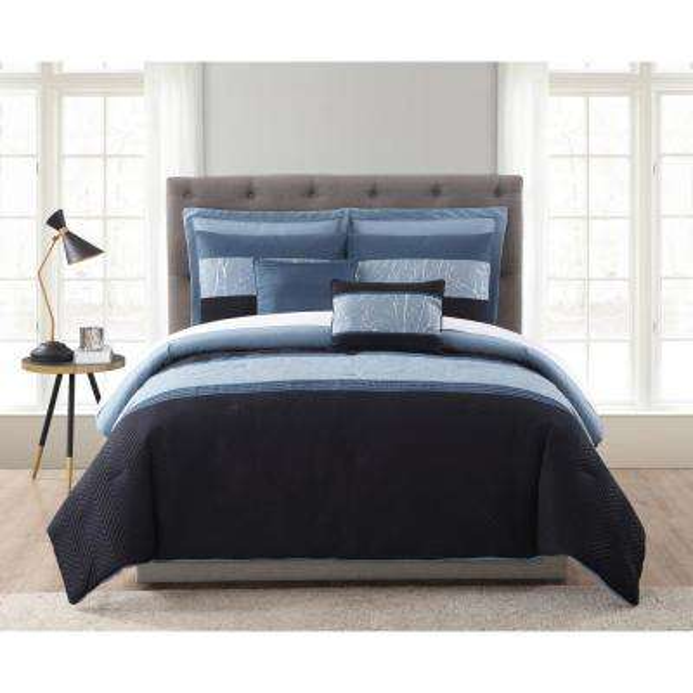 MHF Home Madison Blue and Silver Foil Embellished King Comforter Set (7-Piece)