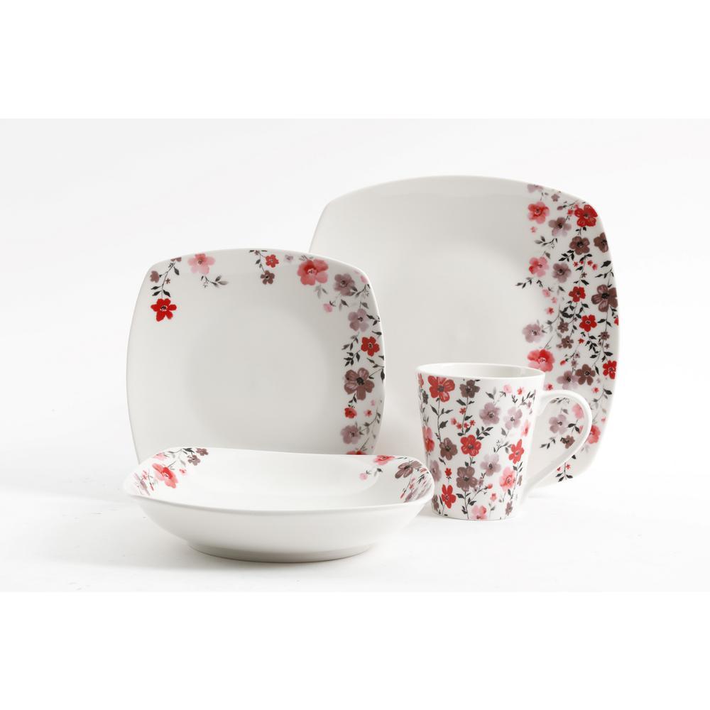 Rosetta 16-Piece Floral Design Ceramic Dinnerware Set (Service for 4)
