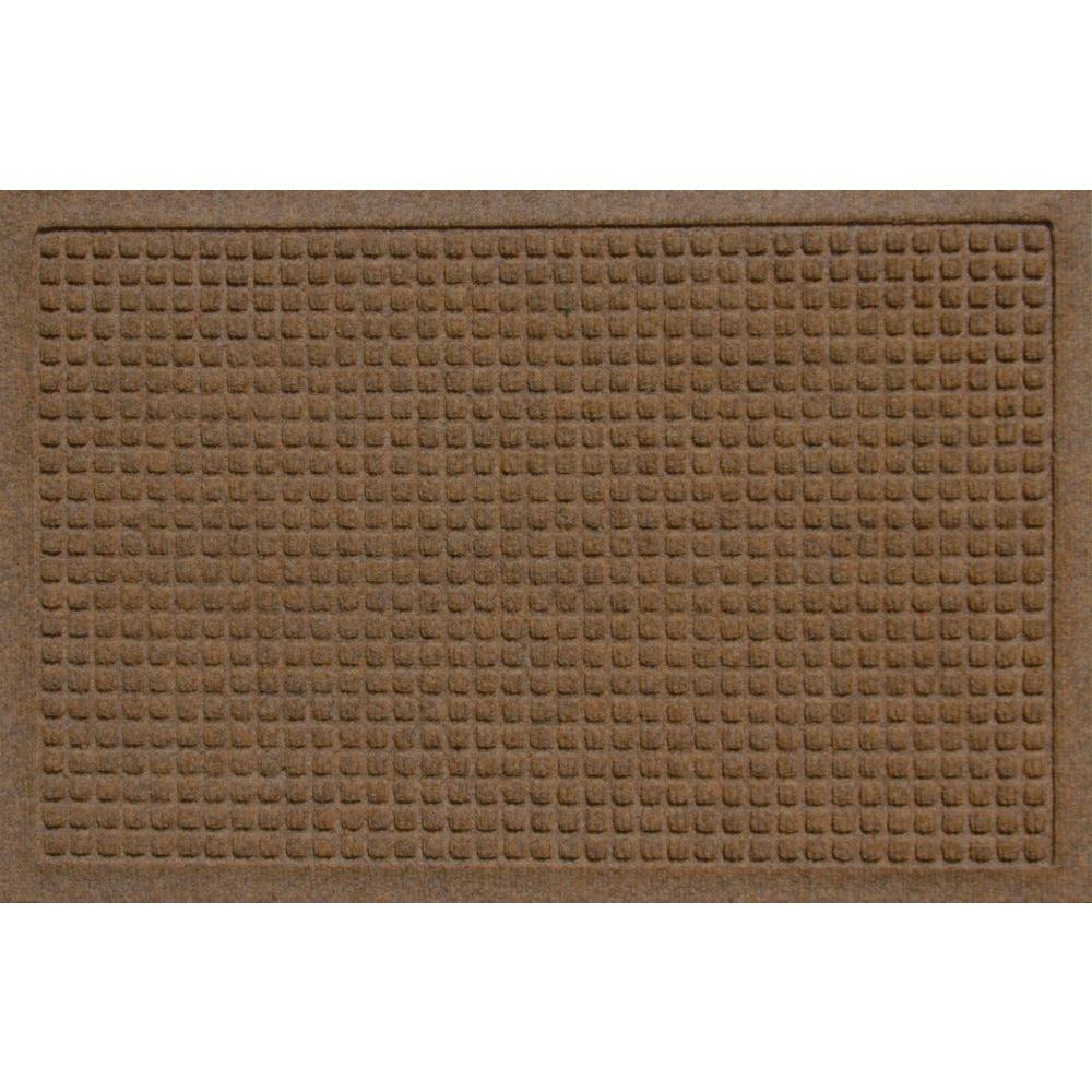Bungalow Flooring Aqua Shield Squares Dark Brown 17.5 In. X 26.5 In. Door  Mat