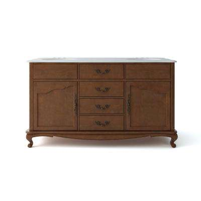 Provence 62 in. W x 22 in. D Vanity in Chestnut with Marble Vanity Top in Black with White Basin
