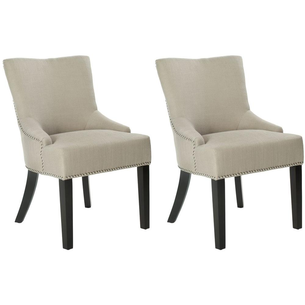 Safavieh Lotus Antique Gold/Espresso Cotton/Linen Side Chair (Set of 2)