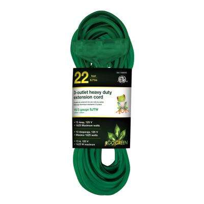 22 ft. 16/3 3-Outlet Heavy Duty Extension Cord, Green