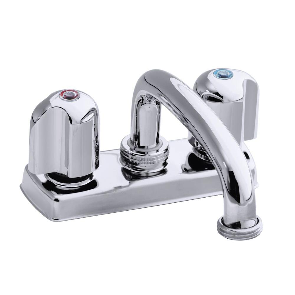 Trend 4 in. 2-Handle Low-Arc Bathroom Tray Faucet in Polished ...