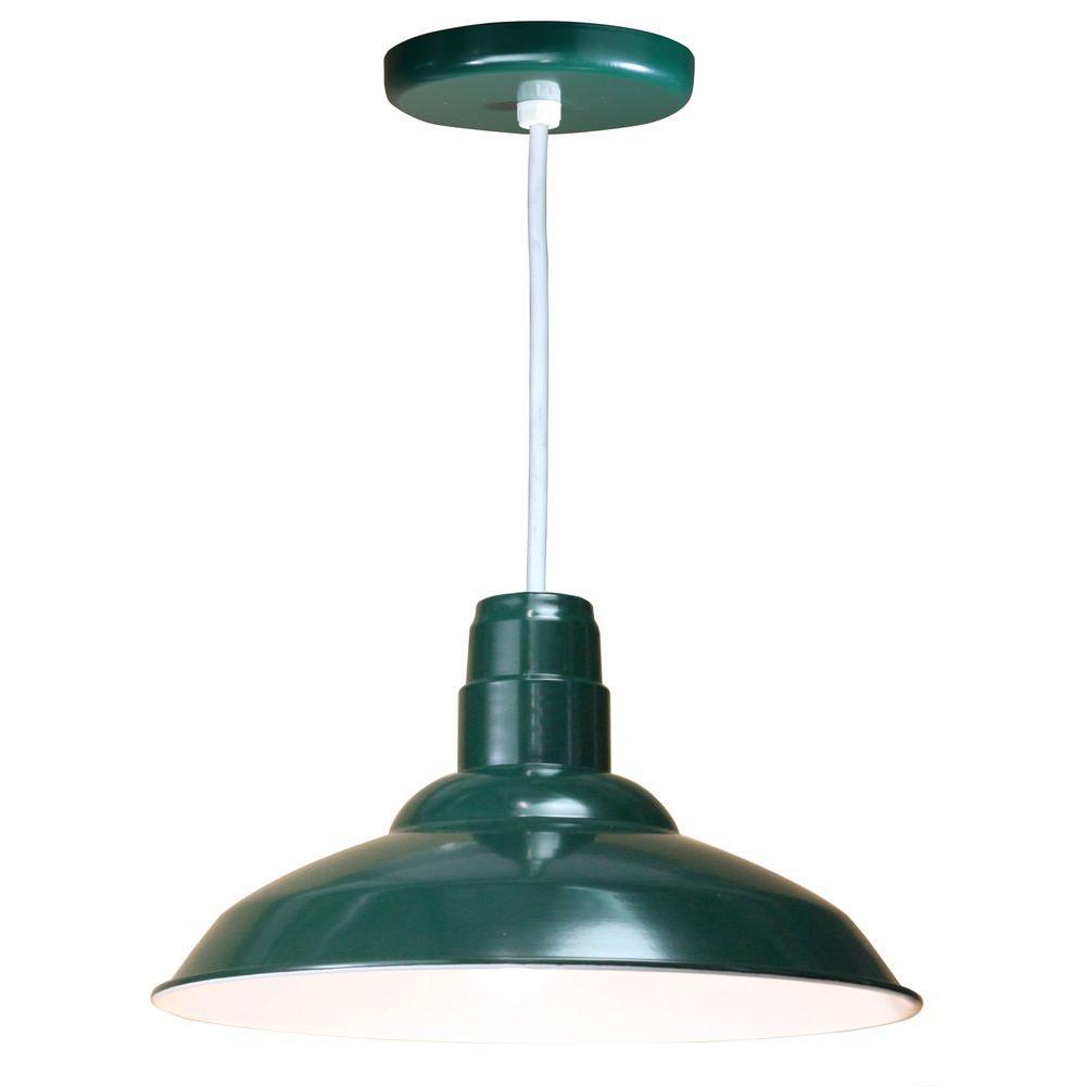 1-Light Ceiling Forest Green Pendant
