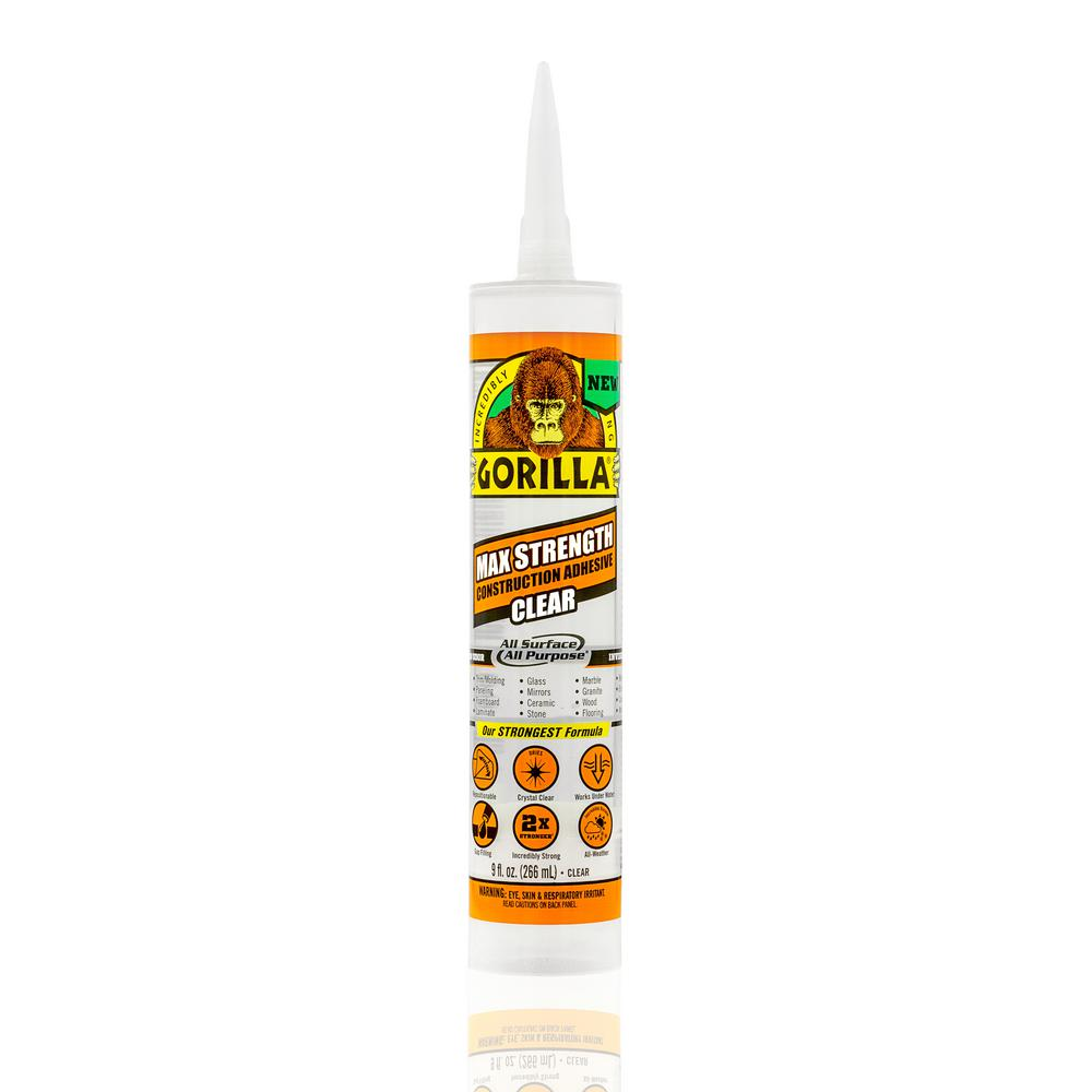 Gorilla 9 oz. Max Strength Construction Adhesive Clear