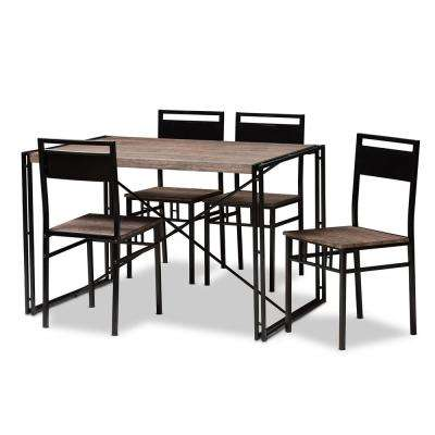 Mamaine 5-Piece Light Brown Dining Set