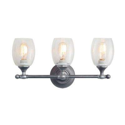 3-Light Aged Silver Bathroom Vanity Light with Seeded Glass Shade