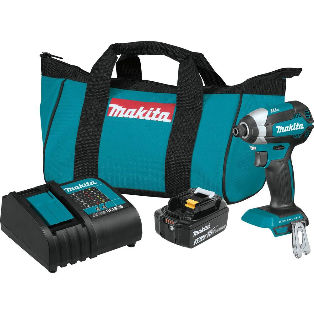 Makita 18-Volt LXT Lithium-Ion Brushless Cordless Impact Driver Kit with  (1) Battery 3 0Ah