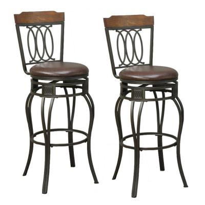 Black Swivel Bar Stools with Padded Seat and Wooden Top (Set of 2)