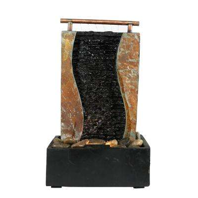 17 in. Bending Slate Tabletop Fountain with LED Light