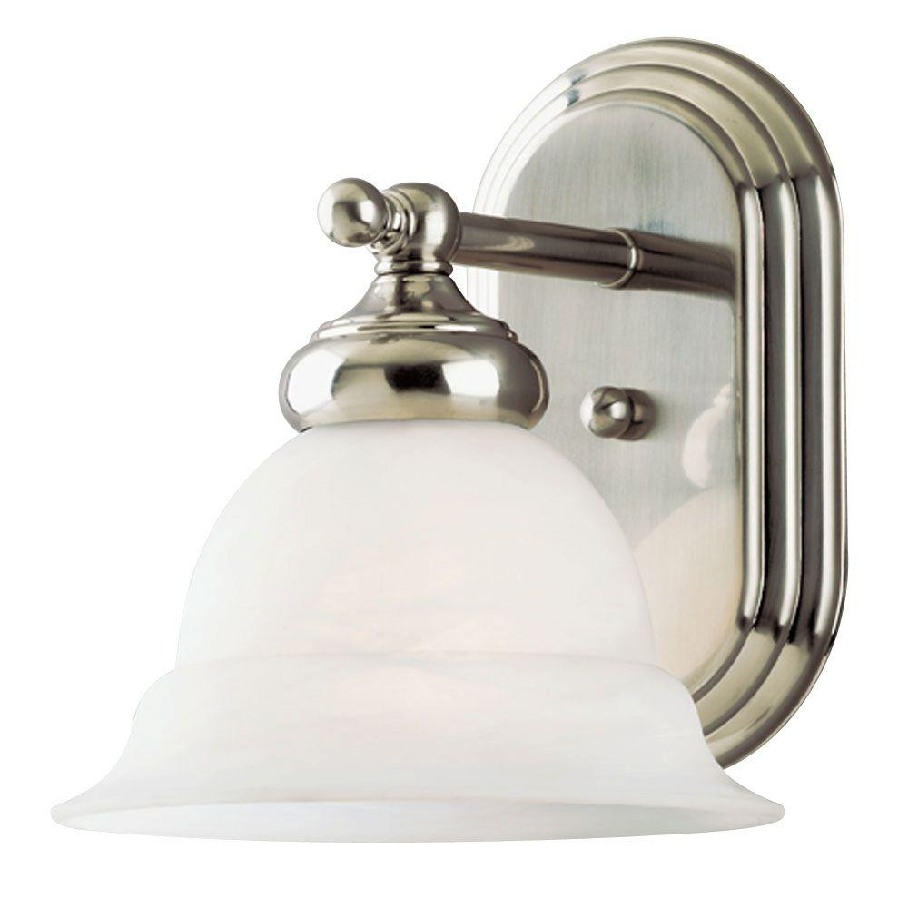 Westinghouse 1 Light Brushed Nickel Interior Wall Fixture With Frosted White Alabaster Glass