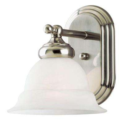 1-Light Brushed Nickel Interior Wall Fixture with Frosted White Alabaster Glass