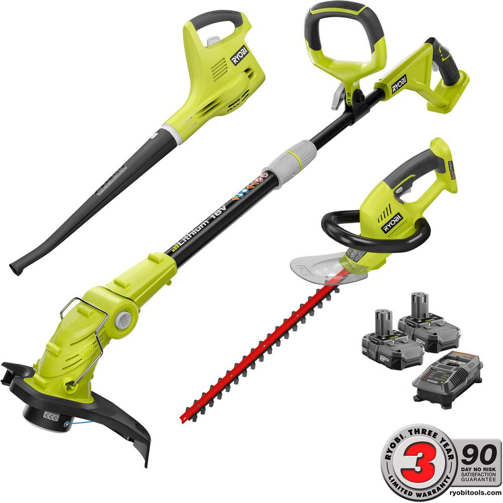 Ryobi ONE+ 18-Volt Lithium-Ion Cordless Trimmer/Blower/Hedge Combo Kit - Two 1.3 Ah Batteries and Charger Included