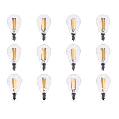 40-Watt Equivalent A15 Dimmable Clear Glass Filament LED Light Bulb Warm White 2700K (12-Pack)