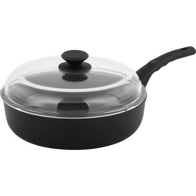 Munster 11 in. Aluminum Nonstick Frying Pan in Black with Glass Lid