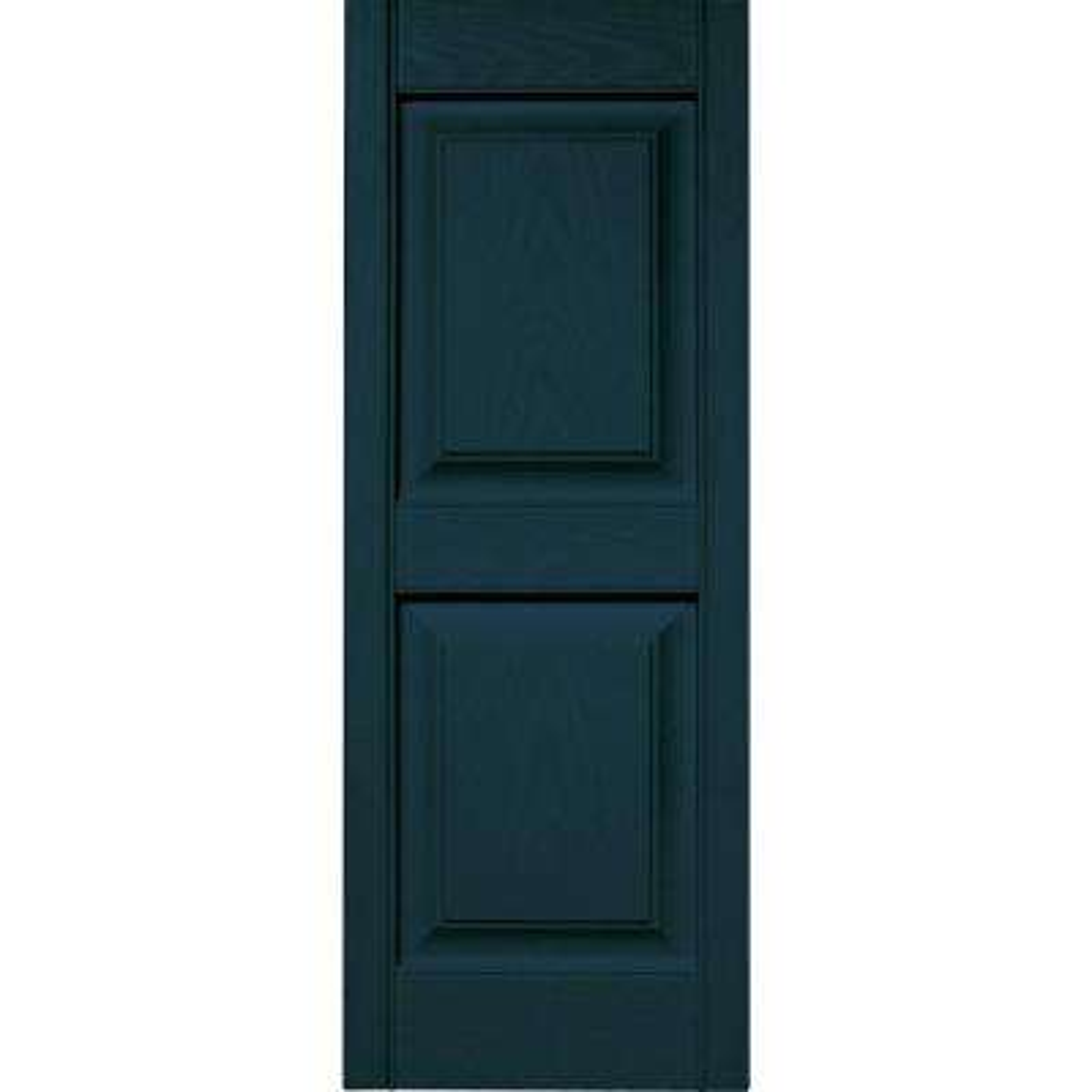 15 in. x 39 in. Raised Panel Vinyl Exterior Shutters Pair in #166 Midnight Blue