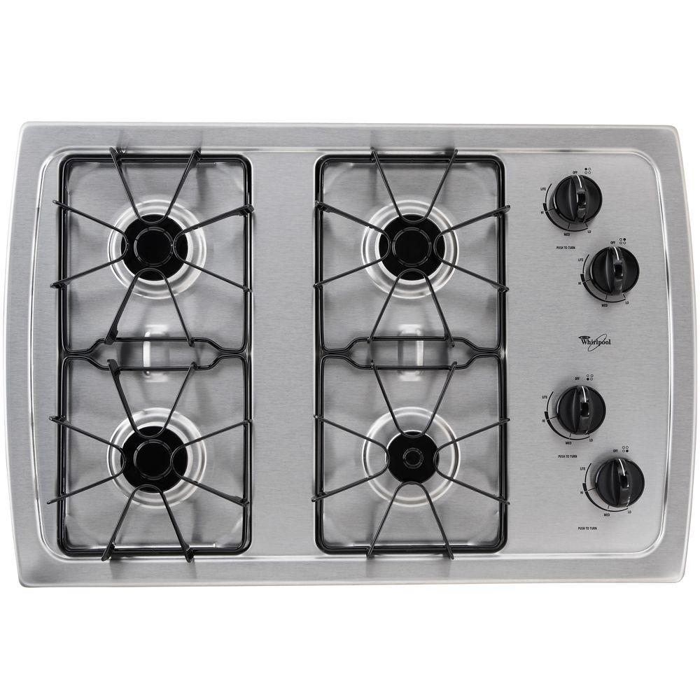 whirlpool 30 in gas cooktop in stainless steel with 4 burners w3cg3014xs the home depot. Black Bedroom Furniture Sets. Home Design Ideas