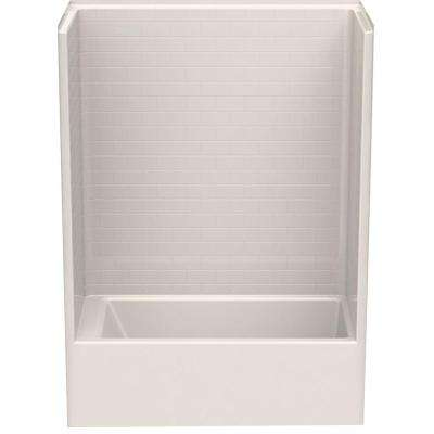 Everyday Subway Tile 60 in. x 32 in. x 80 in. 1-Piece Bath and Shower Kit with Right Drain in Biscuit