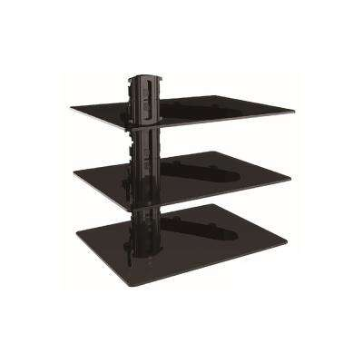 Triple DVD Shelf Wall Mount with Tempered Glass (7004)
