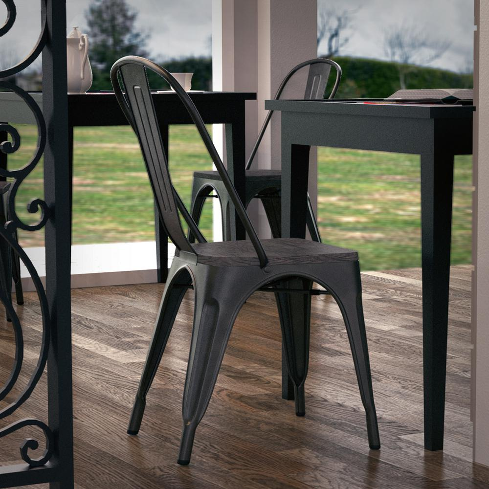 Poly And Bark Trattoria Distredded Black Side Chair Set